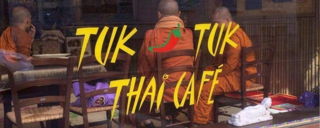 Buddhist monks visiting Tuk Tuk Thai restaurant